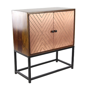 17 Stories Ludwig Modern Wood and Iron 2 Door Accent Cabinet; Copper
