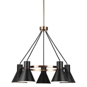 17 Stories Alton 5-Light Modern Shaded Chandelier; Satin Bronze
