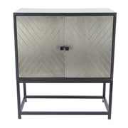 17 Stories Ludwig Modern Wood and Iron 2 Door Accent Cabinet; Bronze