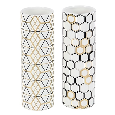 Varick Gallery Renfro Modern Ceramic Honeycomb and Geometric-Patterned Cylindrical 2 Piece Vase Set