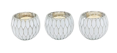 Bungalow Rose Contemporary Round Glass Votive (Set of 3); Silver