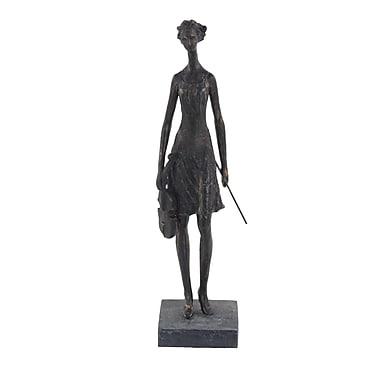 Astoria Grand Bank Rustic Female Violinist Polystone Figurine; Brass