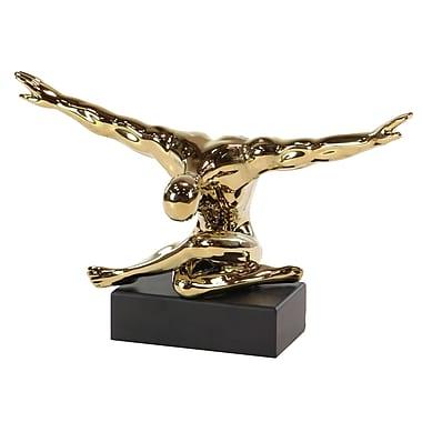 Ivy Bronx Cabral Modern Sitting Gymnast Ceramic Figurine; Gold