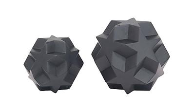 Ivy Bronx Cabrera Carved Star Orb Polystone 2 Piece Sculpture Set; Black