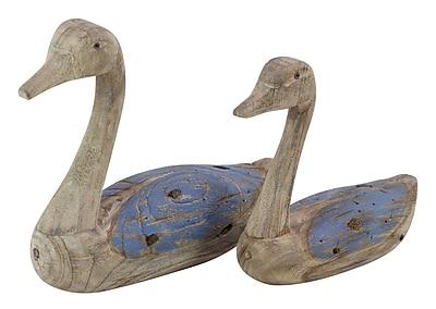 Loon Peak Becquets Coastal Bird Stained Wood 2 Piece Figurine Set; Blue