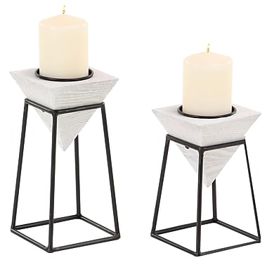 Williston Forge Modern Inverted Pyramid 2 Piece Wood Candlestick Set w/ Iron Stand; White