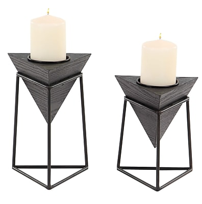 Williston Forge Modern Triangular 2 Piece Wood Candlestick Set w/ Iron Stand; Black