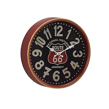 Williston Forge Jessi Vintage Iron Route 66 Round 12'' Wall Clock; Small