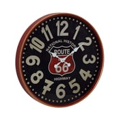 Williston Forge Jessi Vintage Iron Route 66 Round 12'' Wall Clock; Large