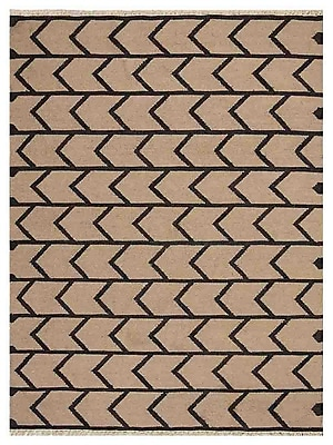 Williston Forge Alisia Contemporary Hand-Woven Wool Cream/Charcoal Area Rug; 3' x 5'