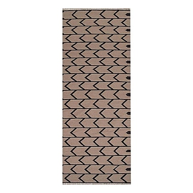 Williston Forge Alisia Contemporary Hand-Woven Wool Cream/Charcoal Area Rug; Runner 2' 6'' x 12'