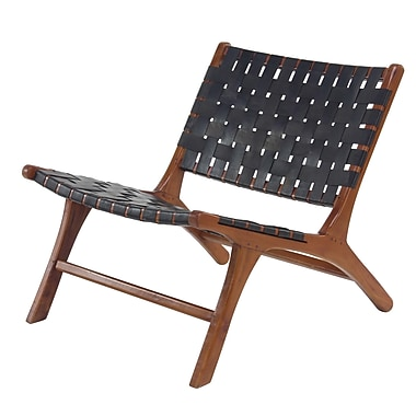 George Oliver Veatch Rustic Mahogany Wood and Leather Lounge Chair; Black