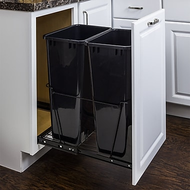 Hardware Resources Double Steel 12.5 Gallon Open Pull Out/Under Counter Trash Can; Black