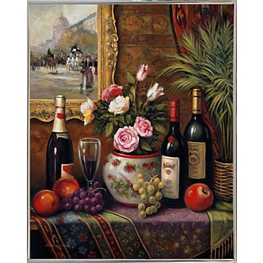 Astoria Grand 'Wine And Floral 3' Graphic Art Print; Silver Metal Framed