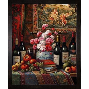 Astoria Grand 'Wine And Floral 4' Graphic Art Print; Black Wood Medium Framed Paper