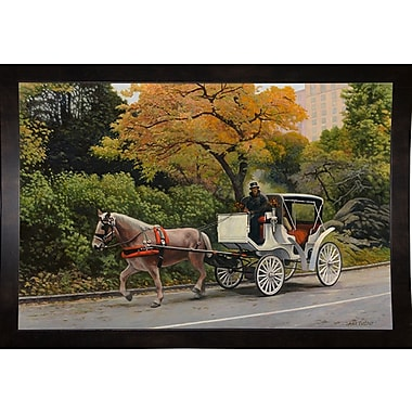 Alcott Hill 'Carriage At Central Park' Graphic Art Print; Black Wood Medium Framed Paper