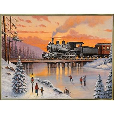 Alcott Hill 'Railroad on the Ice Bridge' Graphic Art Print; Gold Metal Framed