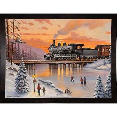 Alcott Hill 'Railroad on the Ice Bridge' Graphic Art Print; Black Wood Medium Framed Paper