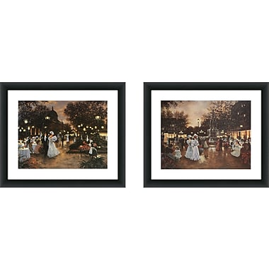 Alcott Hill 'Meeting at the Fountain' 2 Piece Framed Acrylic Painting Print Set