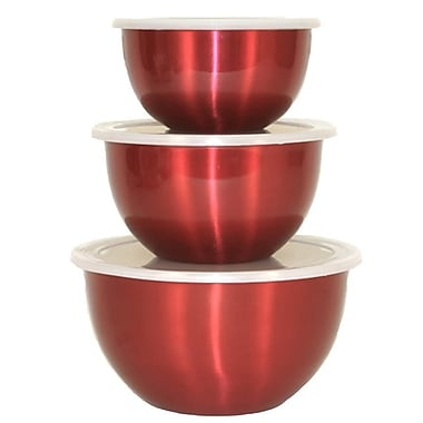 Glomery Goods 3 Pieces Stainless Steel Mixing Bowl Set
