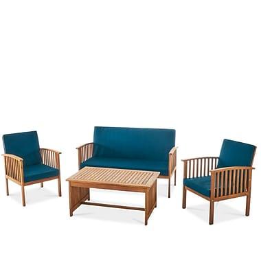 Highland Dunes Arpi Outdoor Wood 4 Piece Sofa Set w/ Cushions