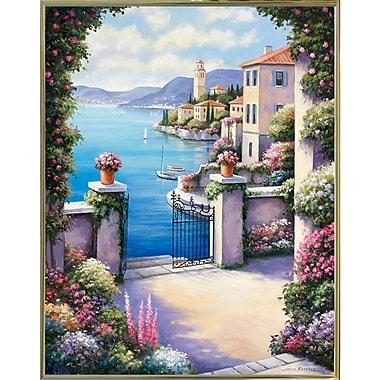 Fleur De Lis Living 'Mediterranian Patio' Graphic Art Print; Gold Metal Framed