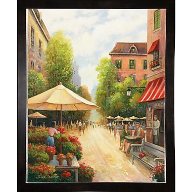 Fleur De Lis Living 'Street Scene' Graphic Art Print; Black Wood Medium Framed Paper