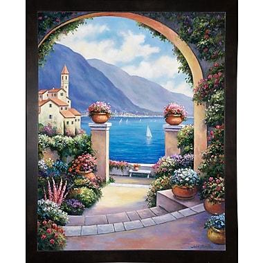 Fleur De Lis Living 'Mediterranian Archway' Print; Black Wood Medium Framed Paper