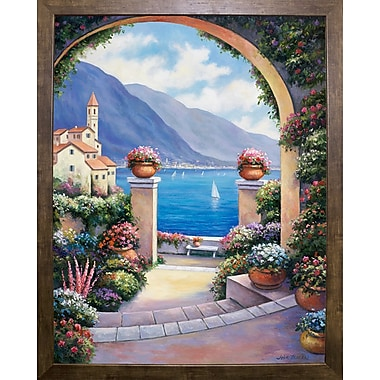 Fleur De Lis Living 'Mediterranian Archway' Print; Cafe Mocha Framed Paper