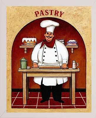 Fleur De Lis Living 'Pastry' Graphic Art Print; White Wood Medium Framed Paper