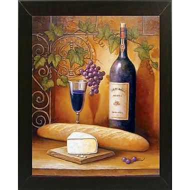 Fleur De Lis Living 'Wine And Cheese B' Graphic Art Print; Brazilian Walnut Wood Medium Framed Paper