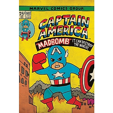 iCanvas 'Marvel Comics Retro Captain America' by Marvel Comics Graphic Art on Wrapped Canvas