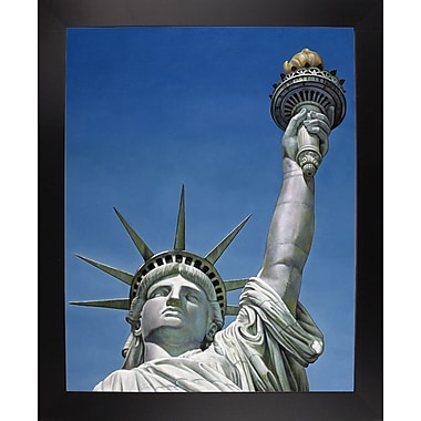 Red Barrel Studio 'Statue Of Liberty' Graphic Art Print; Black Wood Large Framed Paper