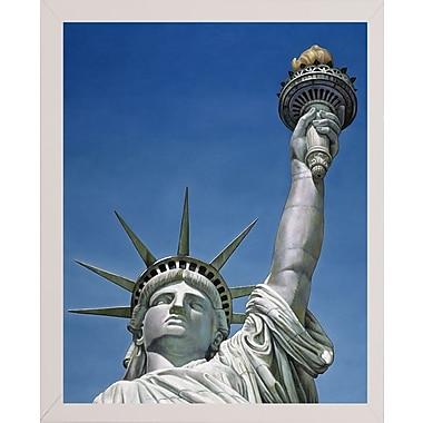 Red Barrel Studio 'Statue Of Liberty' Graphic Art Print; White Wood Medium Framed Paper