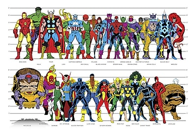iCanvas 'Marvel Superheroes Height' by Marvel Comics Graphic Art on Wrapped Canvas