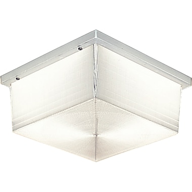 Latitude Run Hollen 2-Light Metal Flush Mount; Clear Prismatic