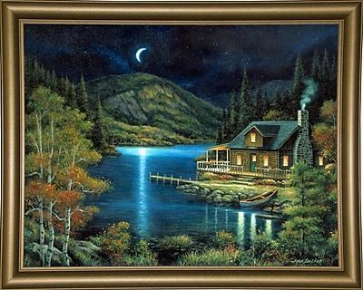 Loon Peak 'Moonlit Cabin' Graphic Art Print; Bistro Gold Framed Paper