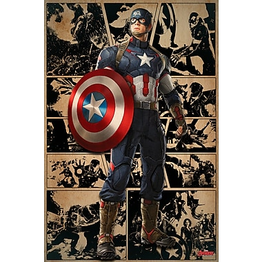 iCanvas 'Captain America, Comic Frames Come to Life' by Marvel Comics Graphic Art on Wrapped Canvas