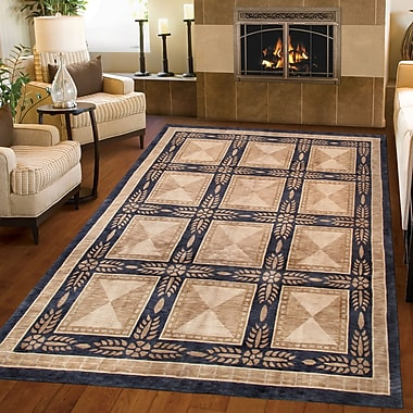 Pasargad Tibetan Hand-Knotted Wool Beige/Black Area Rug; Rectangle 5'11'' x 9'6''