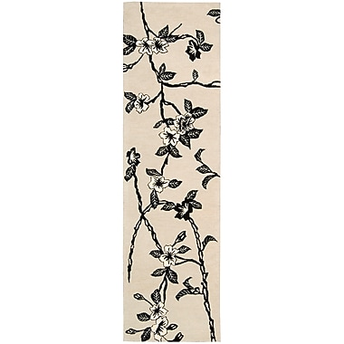 Bloomsbury Market Dupoint Hand-Tufted Black/White Area Rug; Runner 2'3'' x 8'