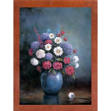 Charlton Home 'Floral A' Print; Canadian Walnut Wood Medium Framed Paper