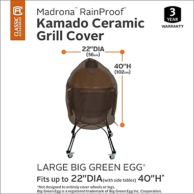 Classic Accessories Madrona Rainproof Kamado Ceramic Grill Cover- Fits up to 31.8''