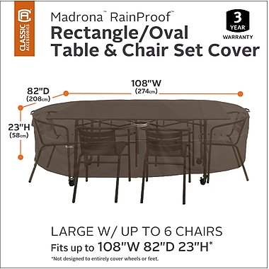 Classic Accessories Madrona RainProof Rectangular/Oval Patio Dining Set Cover