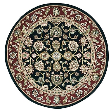 Darby Home Co Ellerswick Hand Woven Wool Red/Black Indoor Area Rug; Round 4'
