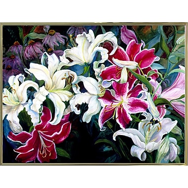 Winston Porter 'Field Of White And Pink Lilies' Print; Gold Metal Framed