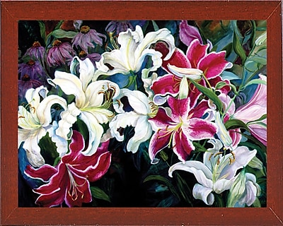 Winston Porter 'Field Of White And Pink Lilies' Print; Red Mahogany Wood Medium Framed Paper