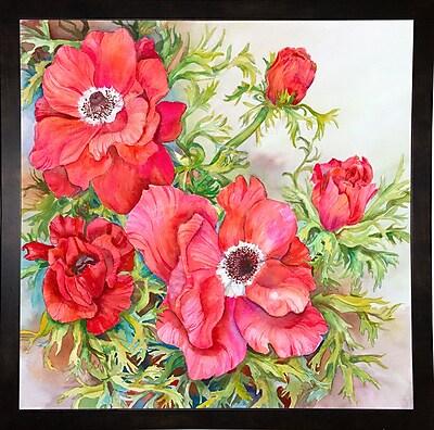 Winston Porter 'Red Anemones' Print; Black Wood Medium Framed Paper