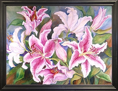 Winston Porter 'Lilies Of The Field' Print; Black Wood Grande Framed Paper