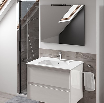 WS Bath Collections Ambra 40'' Single Bathroom Vanity Set w/ Mirror; Gloss White