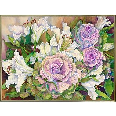 Winston Porter 'Lilies w/ Ornamental Cabbage' Print; Gold Metal Framed